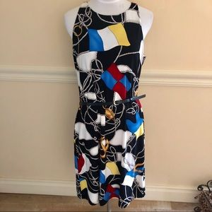 Lauren Ralph Lauren print belted midi dress. L
